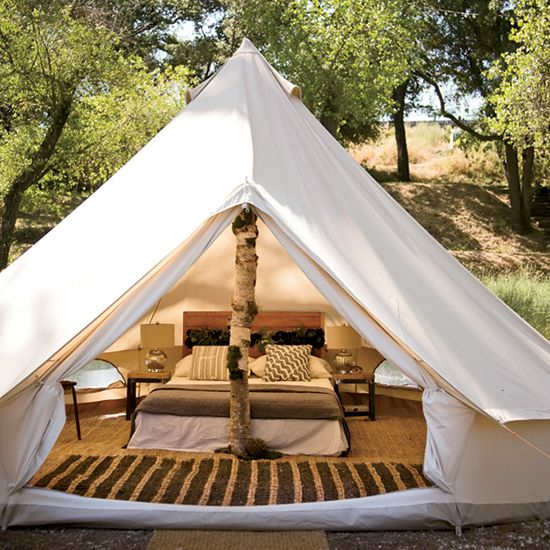 Sleep with the trees in comfort in our 16 foot round bell tent - furnished with a comfy queen size bed and amenities. & Vacations at One Big Sustainable Island